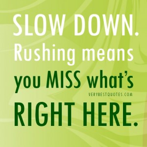 Slow-down-QUOTES.-Rushing-means-you-miss-what's-right-here.